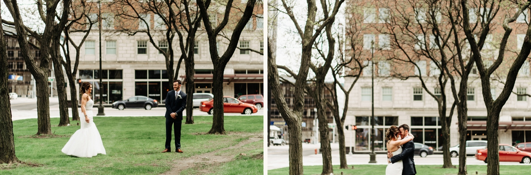 bride and groom share a first look in downtown detroit