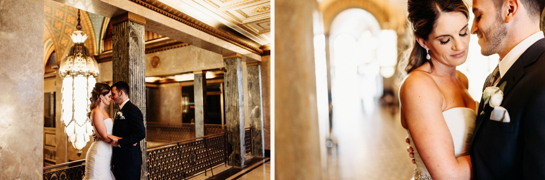 bride and groom portraits in the fisher building by detroit wedding photographer heather jowett