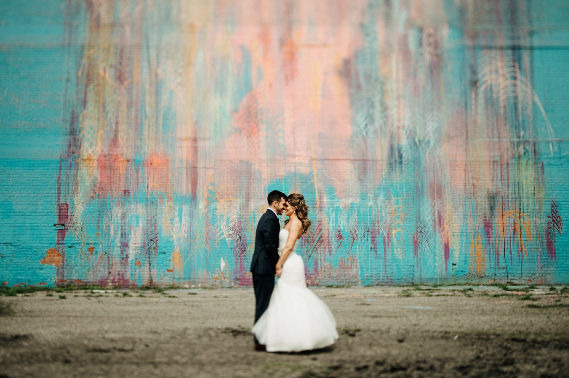 detroit wedding photography near the illuminated mural