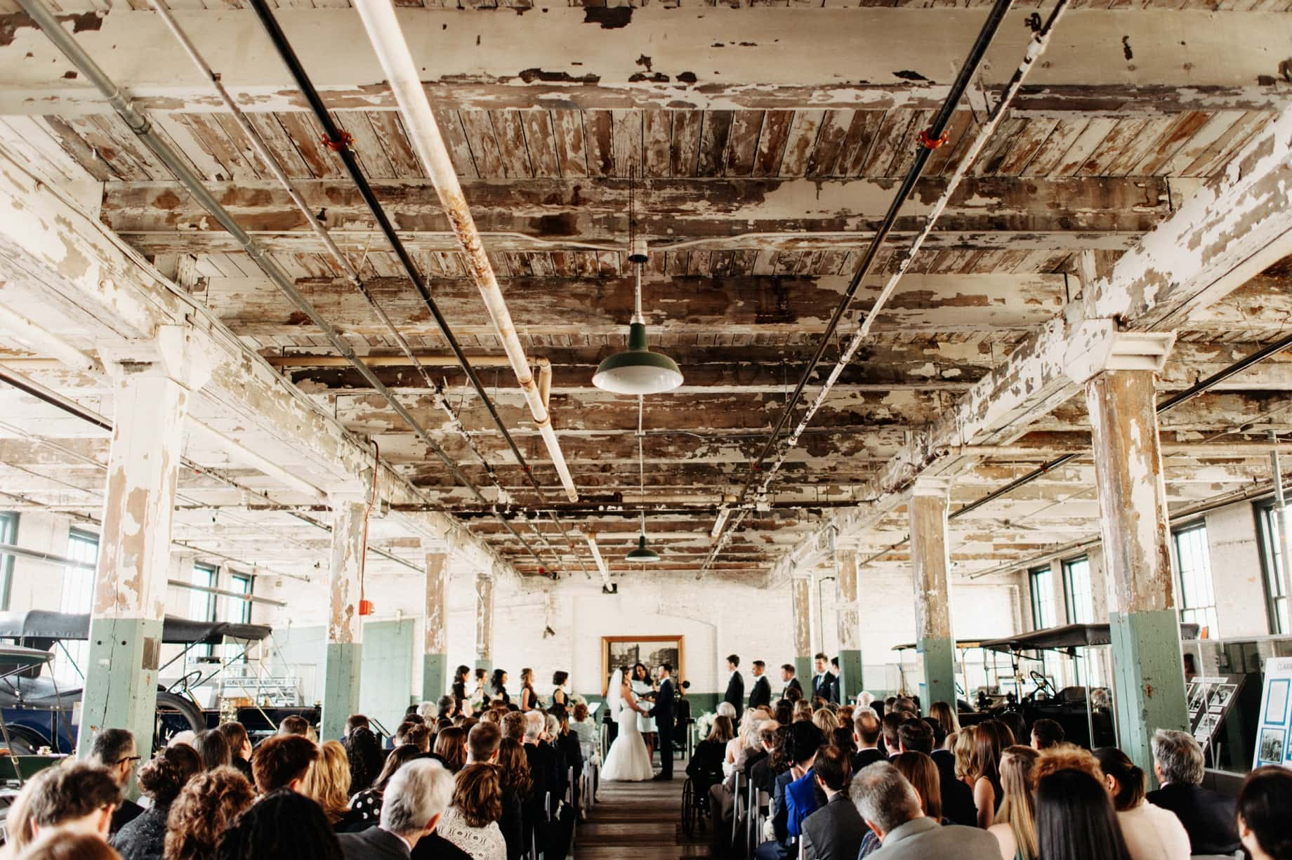 wedding ceremony on the factory floor of the ford piquette plant