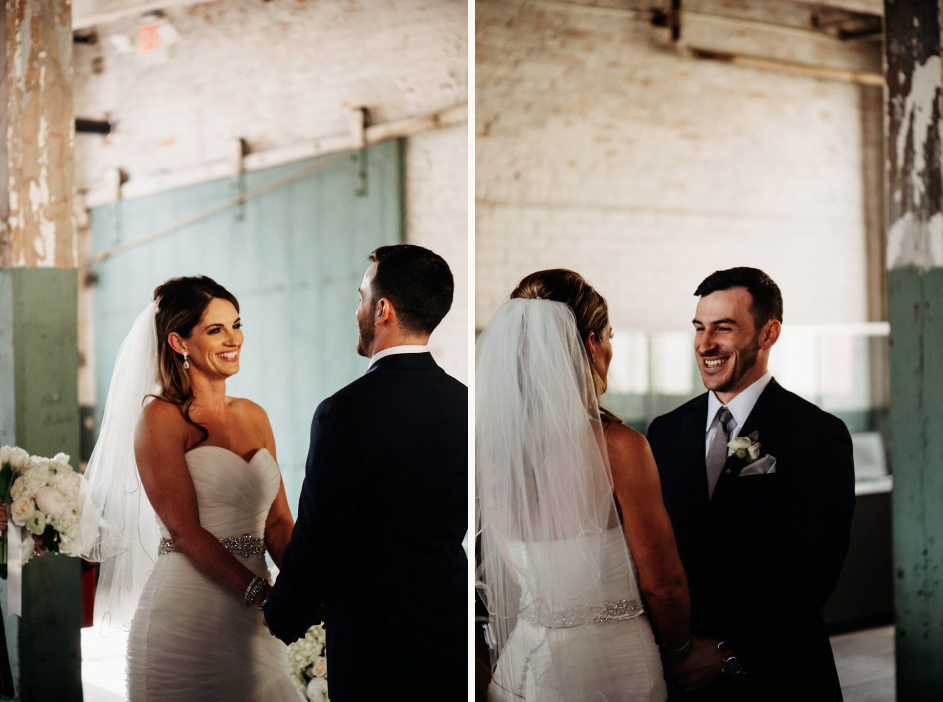 bride and groom during their wedding ceremony at the ford piquette plant
