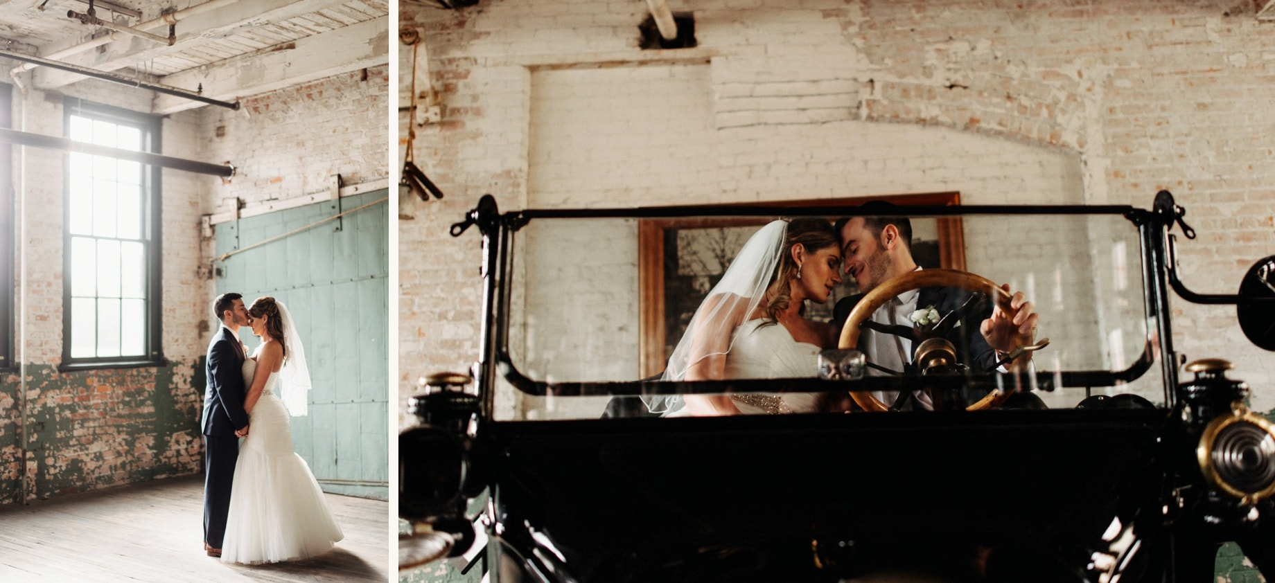 bride and groom posing in a vintage Model T at the ford piquette plant
