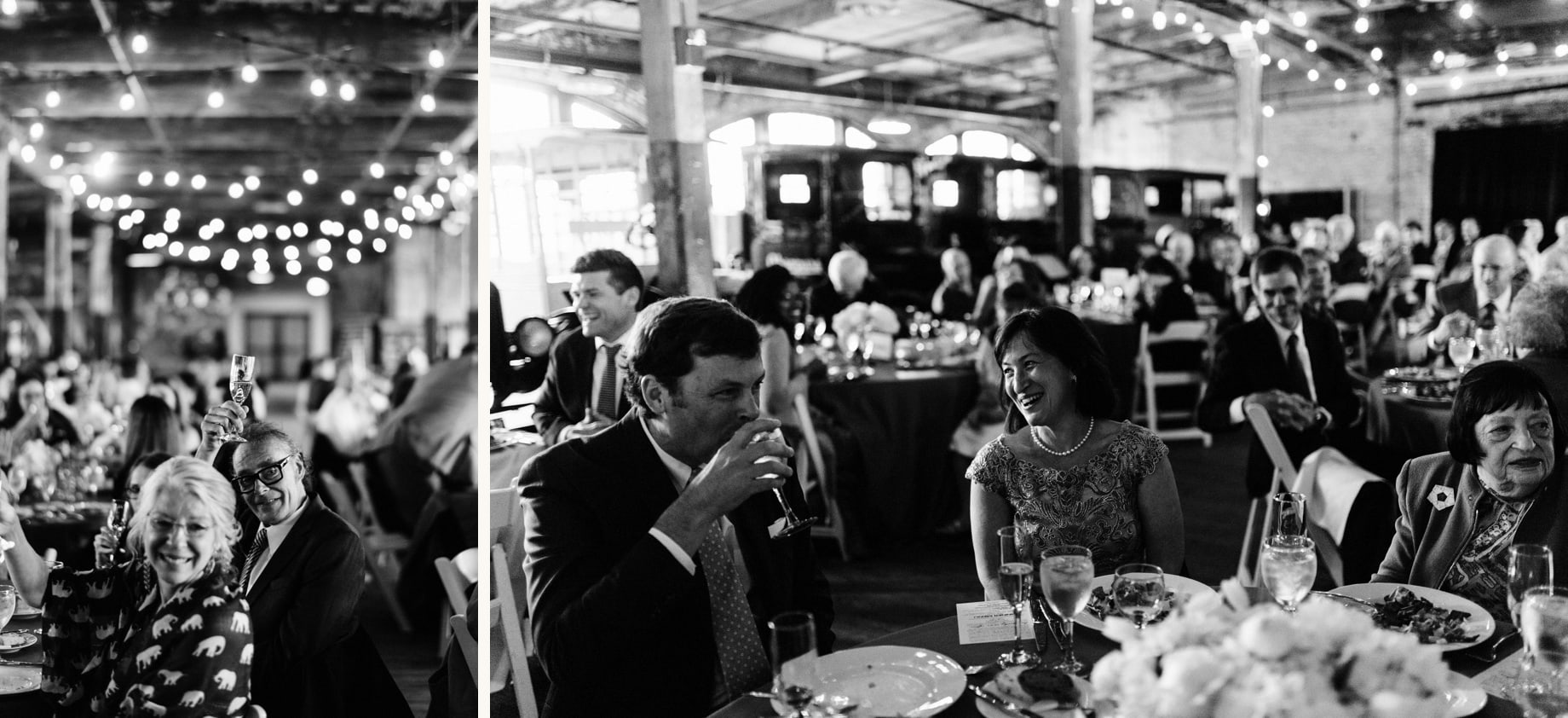 guests reacting to toasts during a wedding at the piquette plant