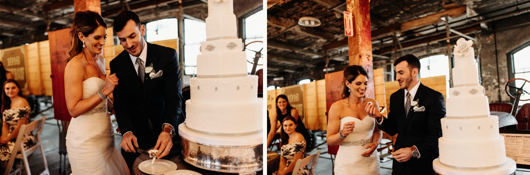 cake cutting at a ford piquette plant wedding