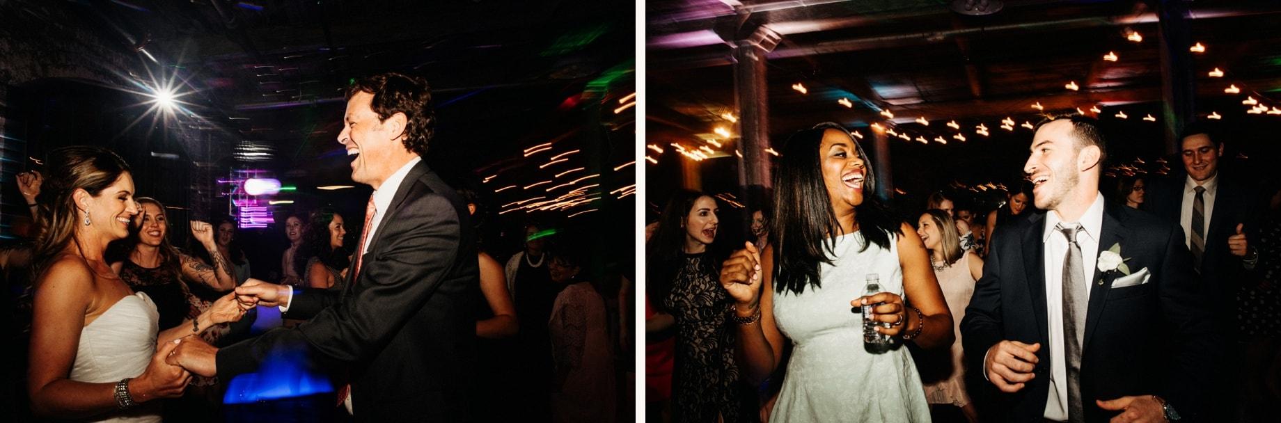 wedding guiests dancing the night away