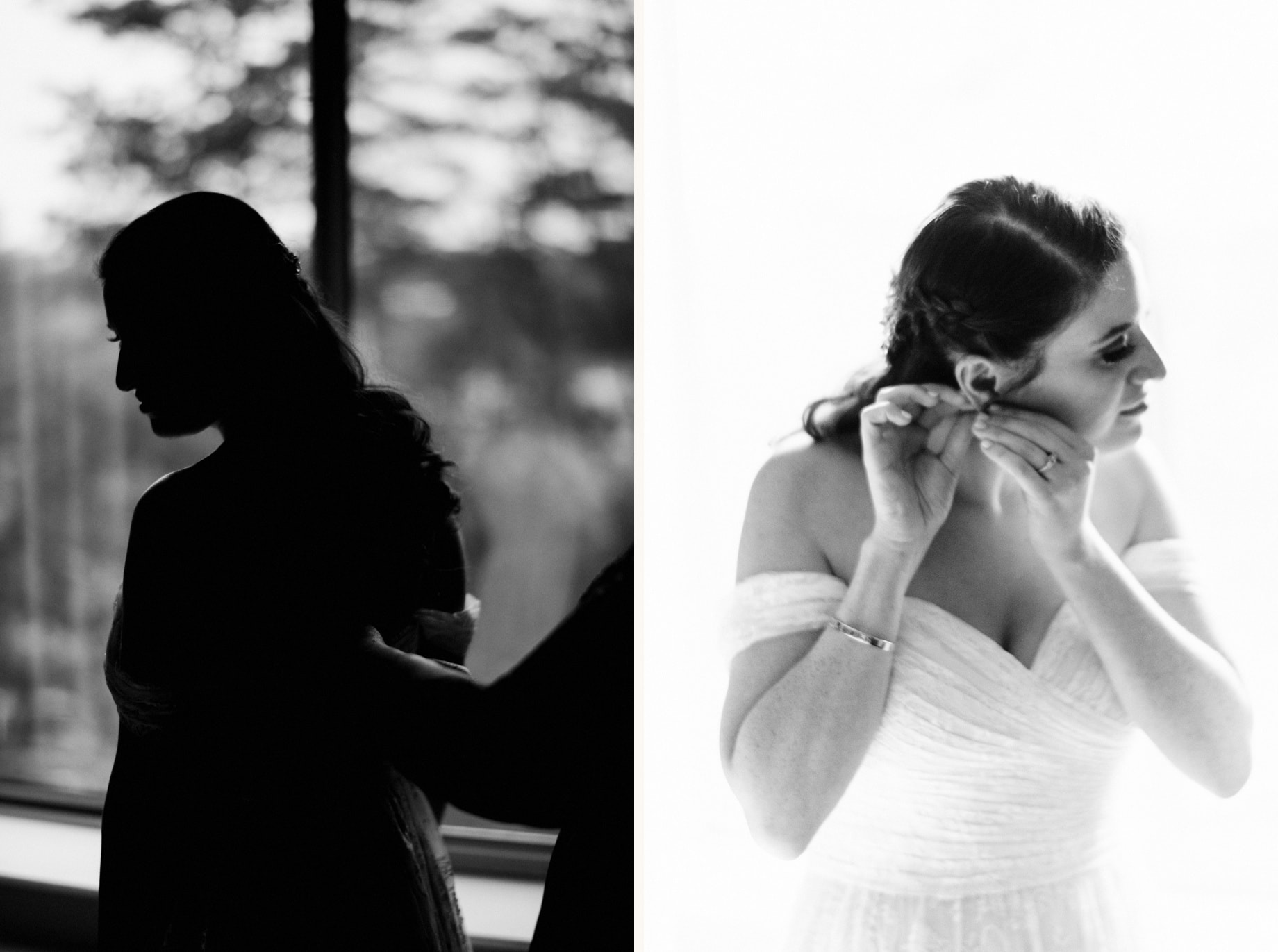 Black and white photographs of bride getting ready by Detroit wedding photographer Heather Jowett