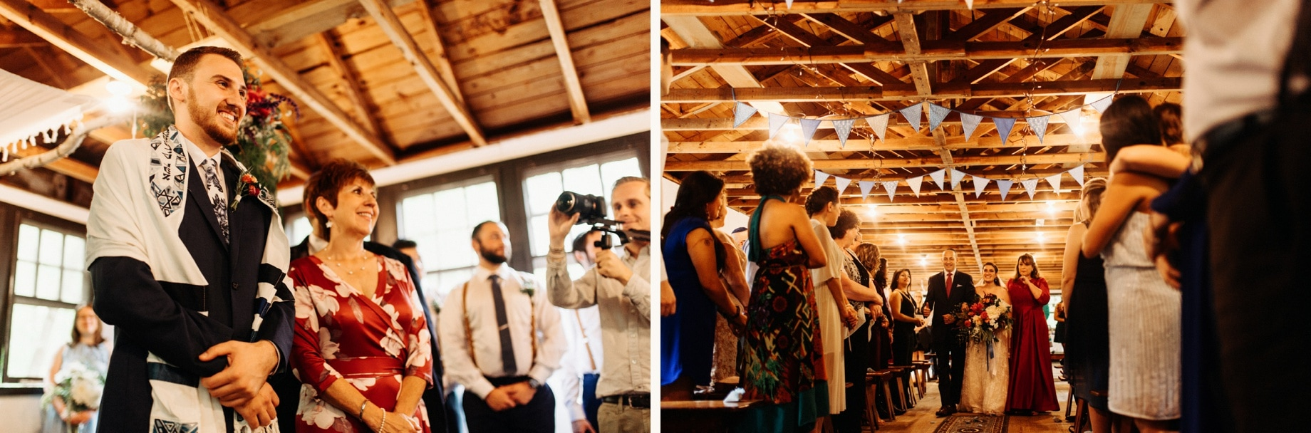 Bride walks down the aisle in a jewish wedding ceremony at Prince William Forest Park