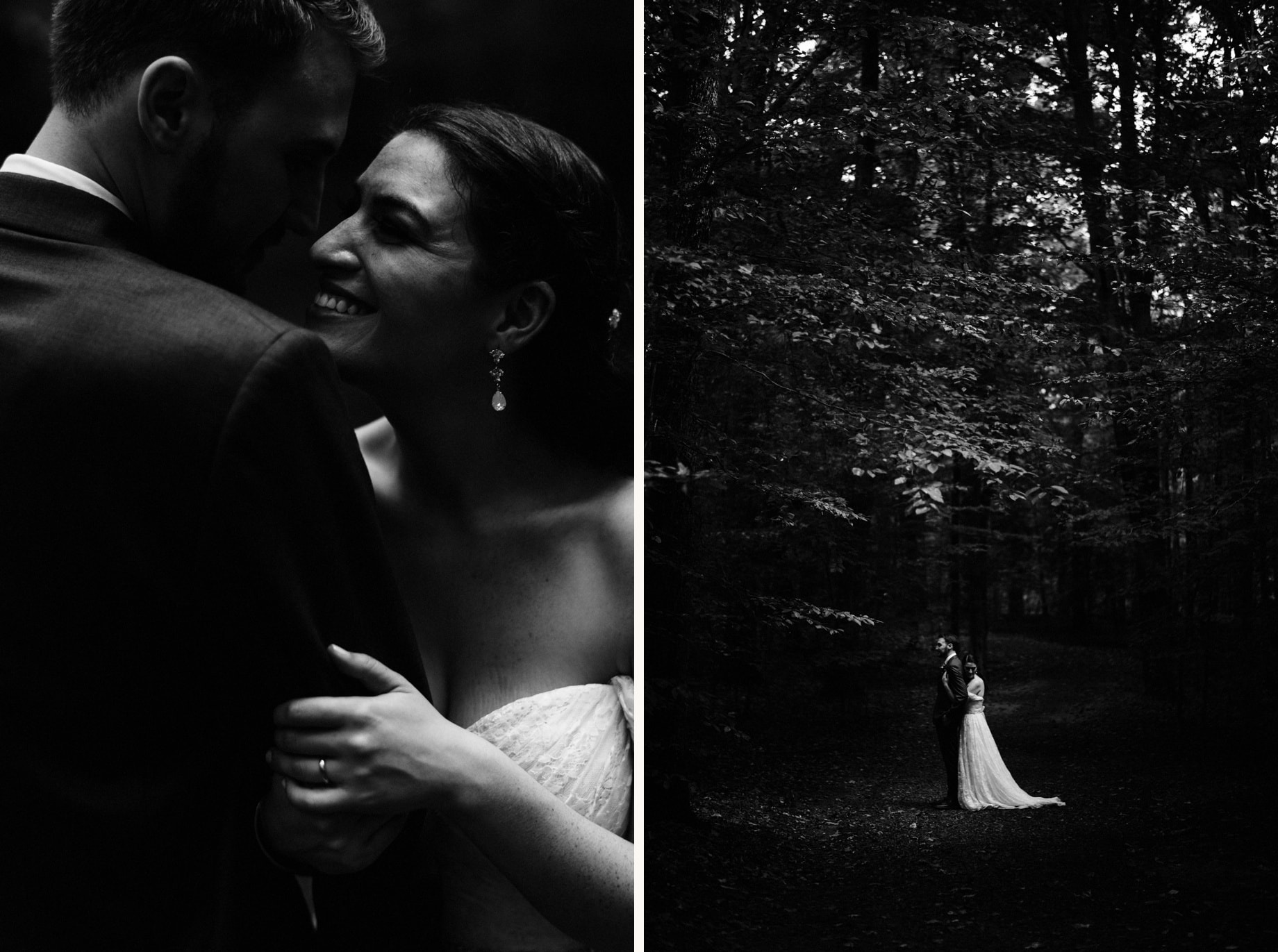 black and white portraits of a bride and groom