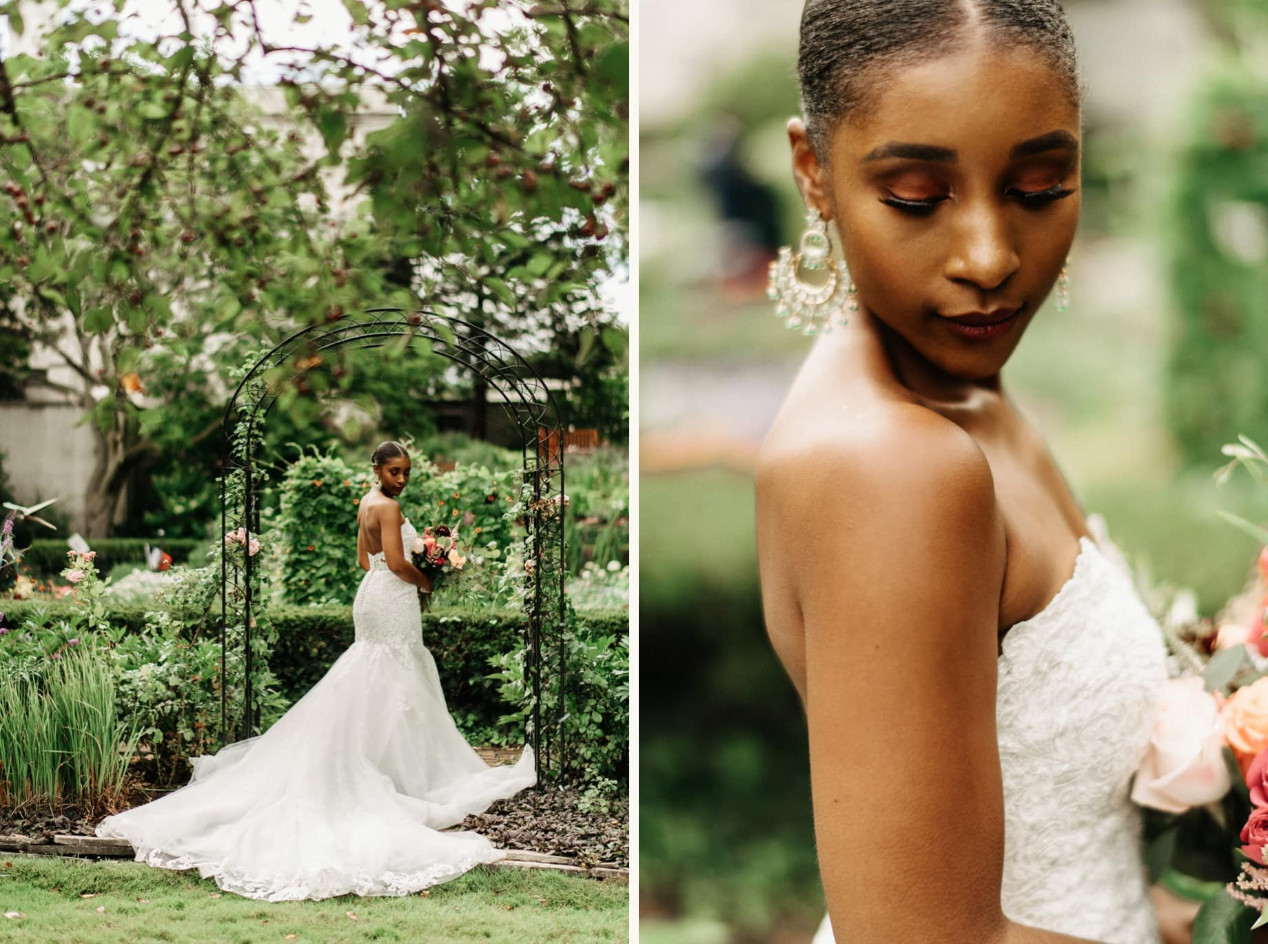 bridal portraits in the gardens of the grosse pointe war memorial