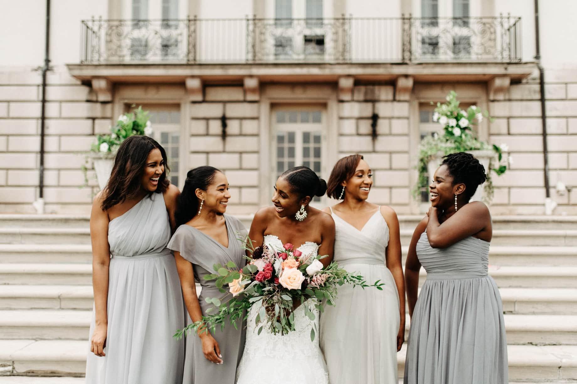 bride witih her bridesmaids