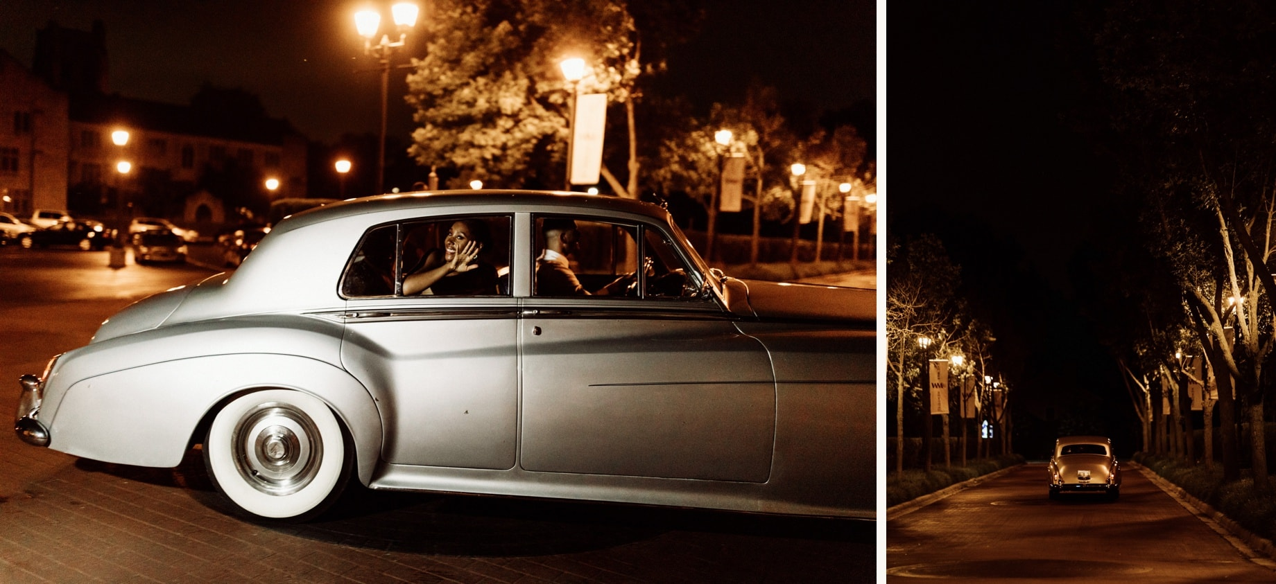 couple leaves wedding in vintage rolls royce