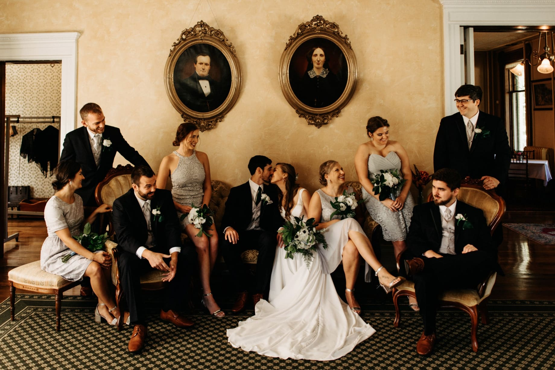 creative wedding party photography