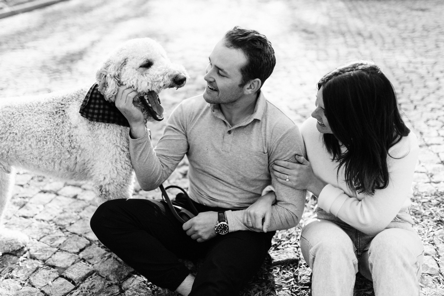 couple with their dog during their detroit engagement session