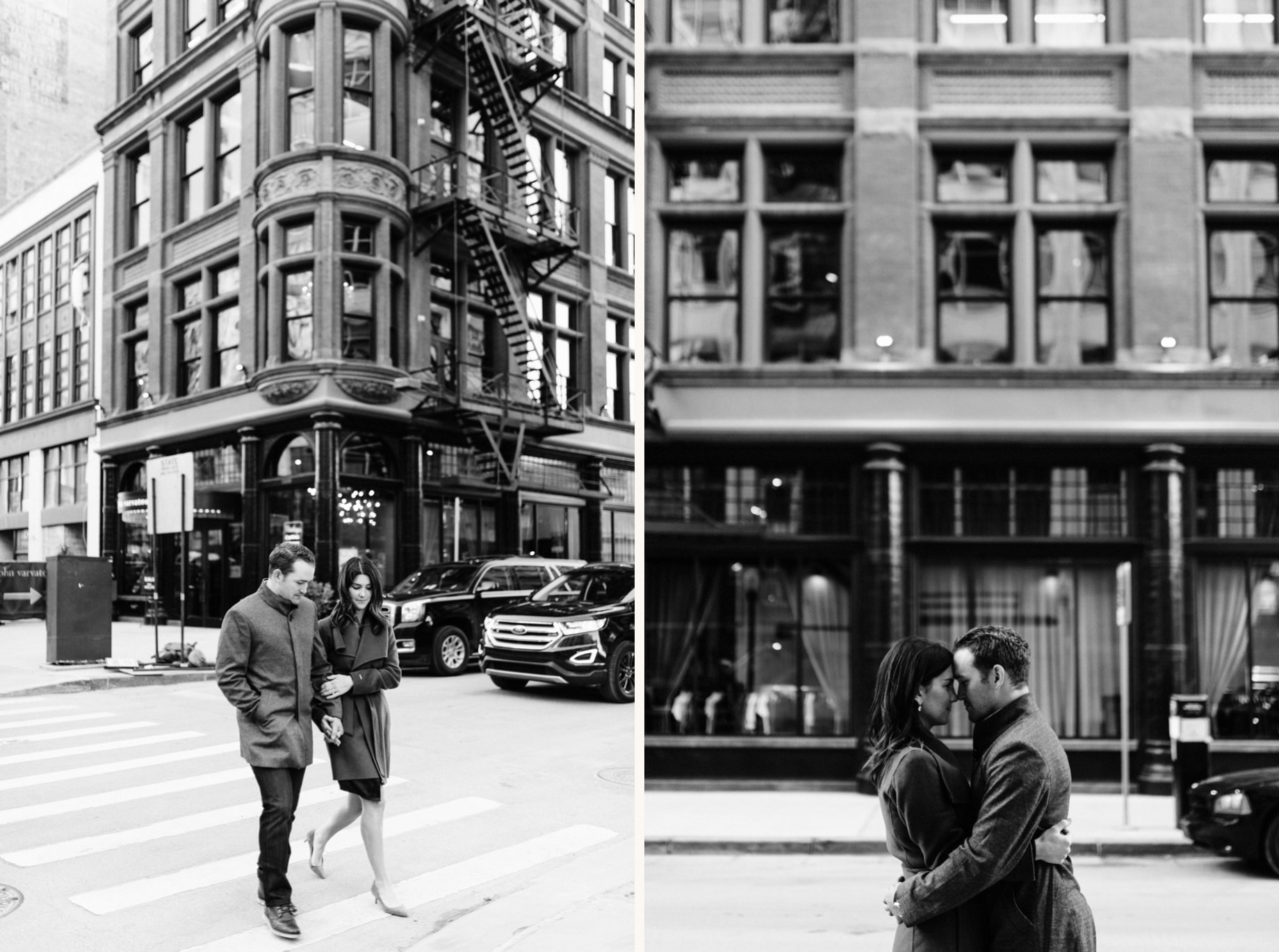 couple takes engagement photos in downtown detroit