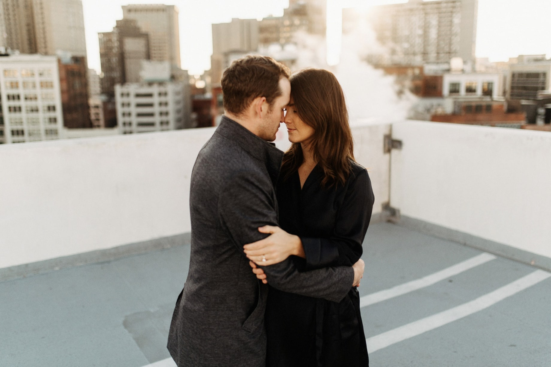 engagement photos on the top of the z lot in detroit