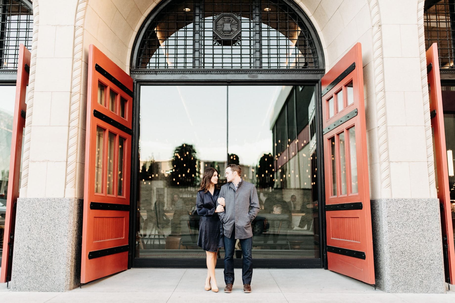 engagement photos outside of the detroit foundation hotel