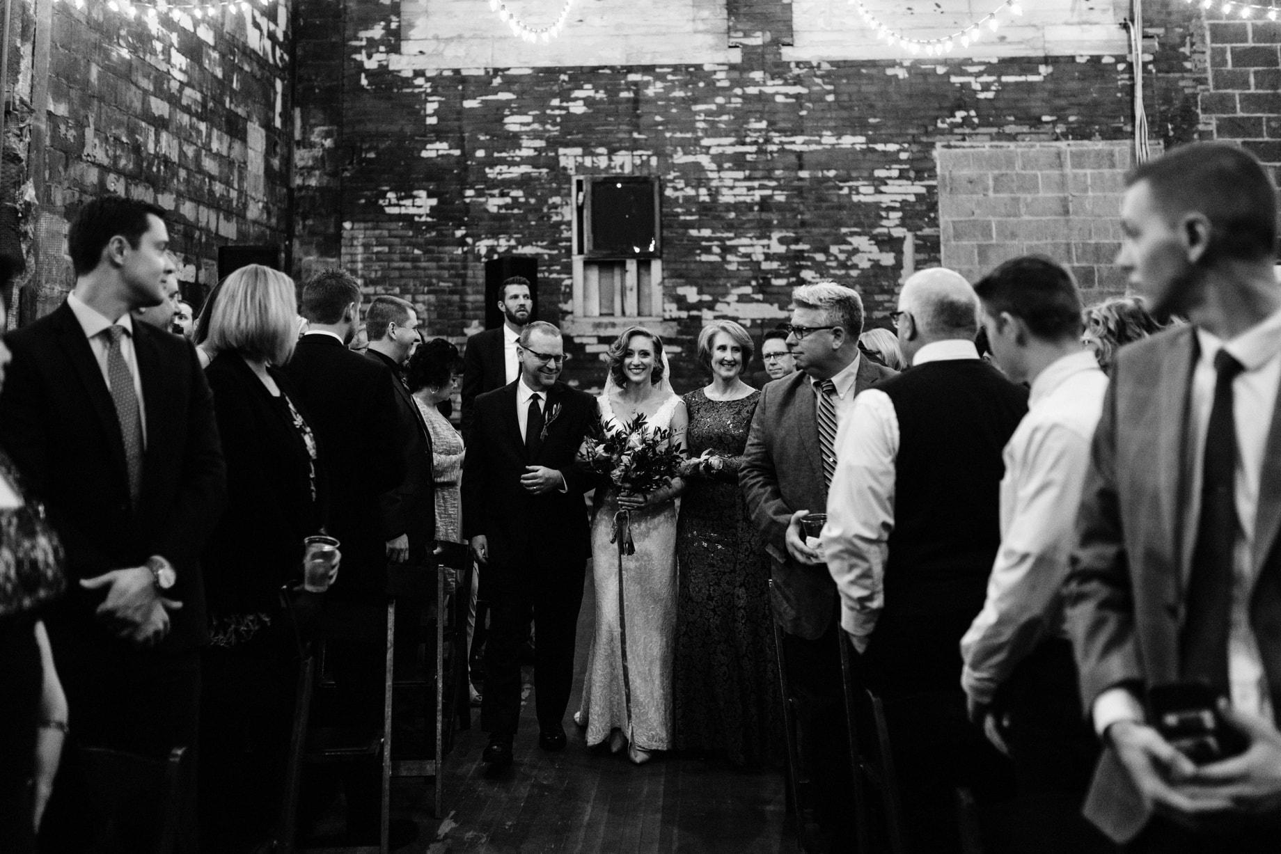 winter wedding ceremony at the Jam Handy