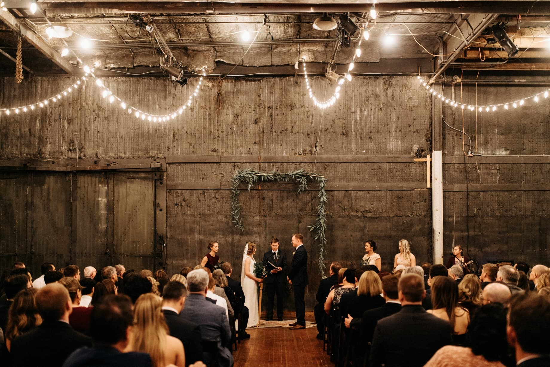 wedding ceremony at the Jam Handy in Detroit