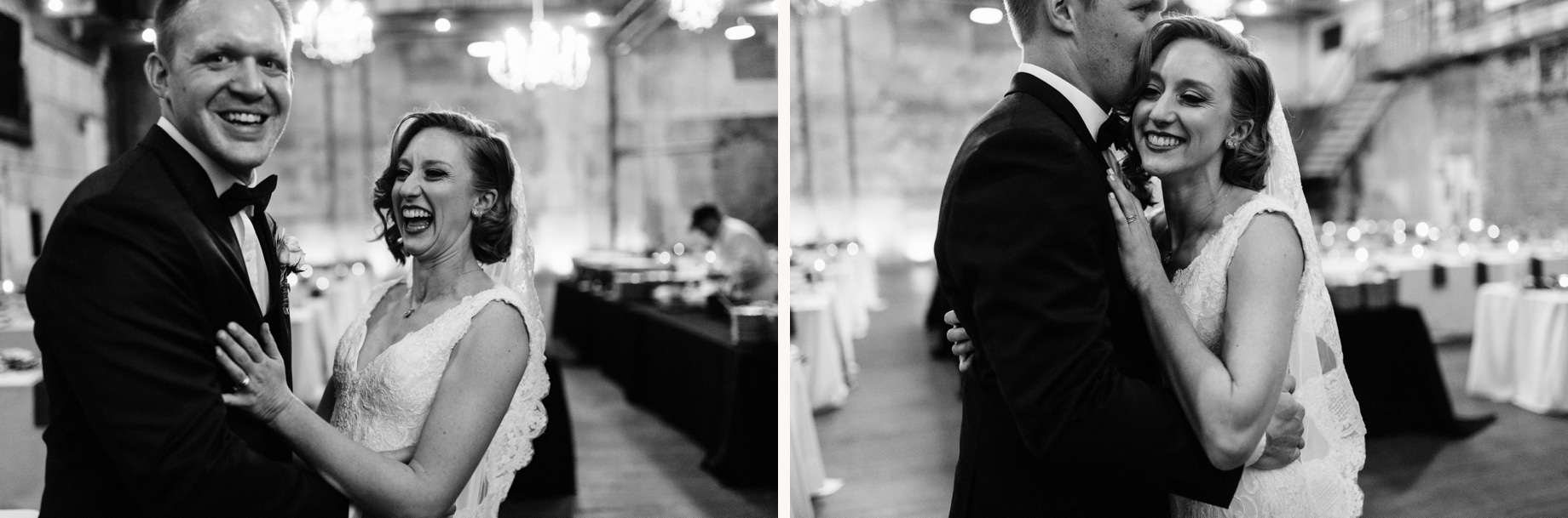 candid photos of a bride and groom after their wedding ceremony at the Jam Handy