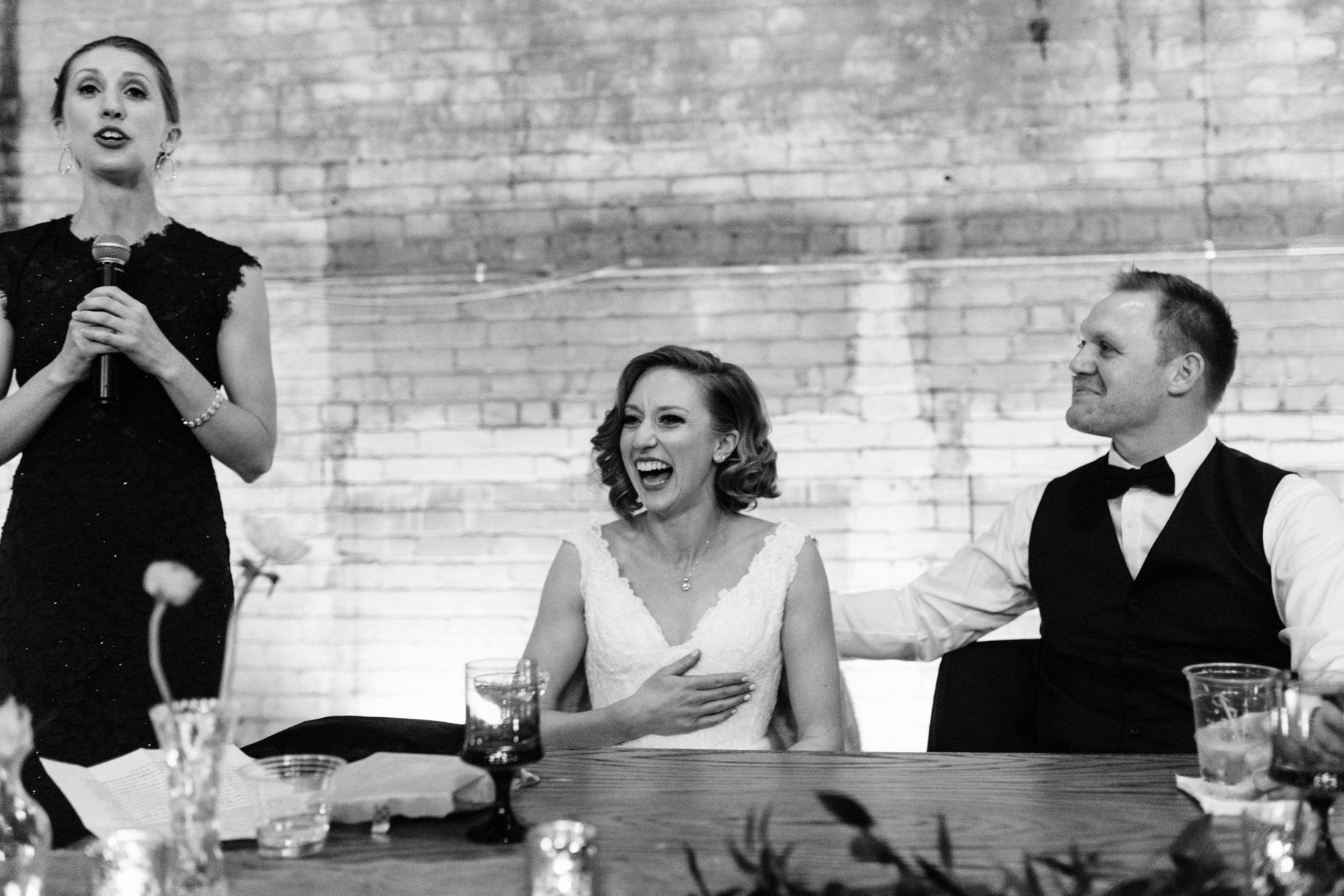bride laughing at sister speech