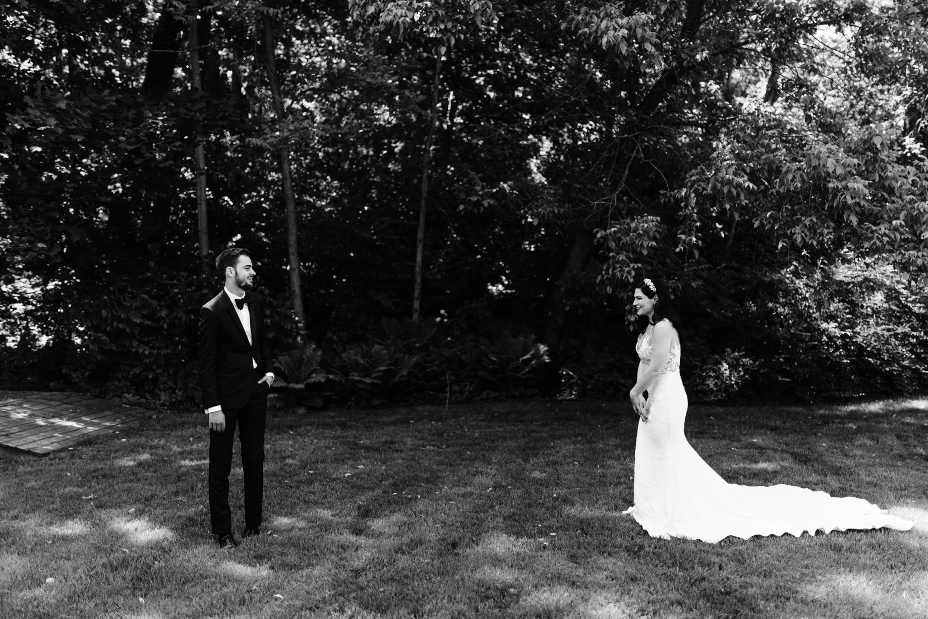 bride and groom share a first look
