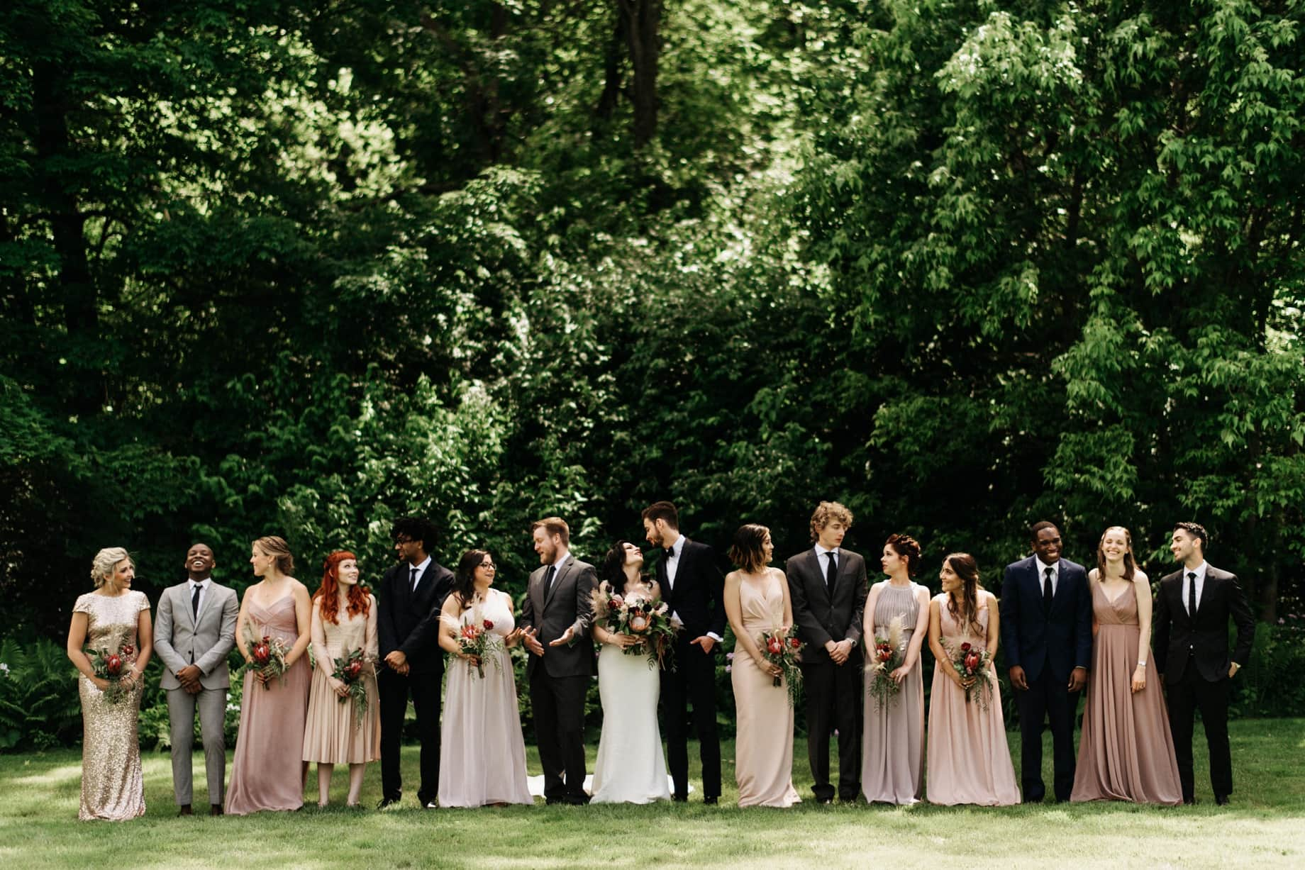 wedding party posing at wellers in Saline Michigan