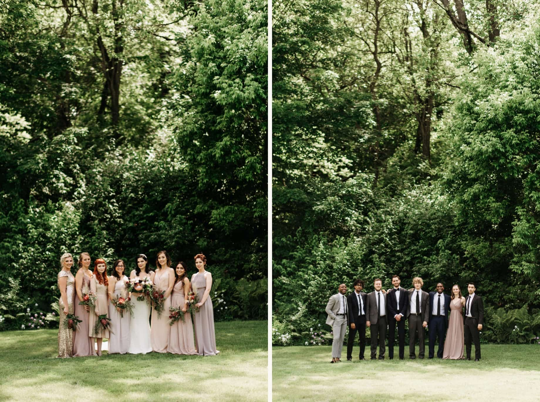 wedding party in shades of blush and gray