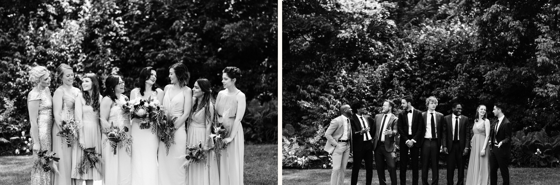 black and white photos of wedding party
