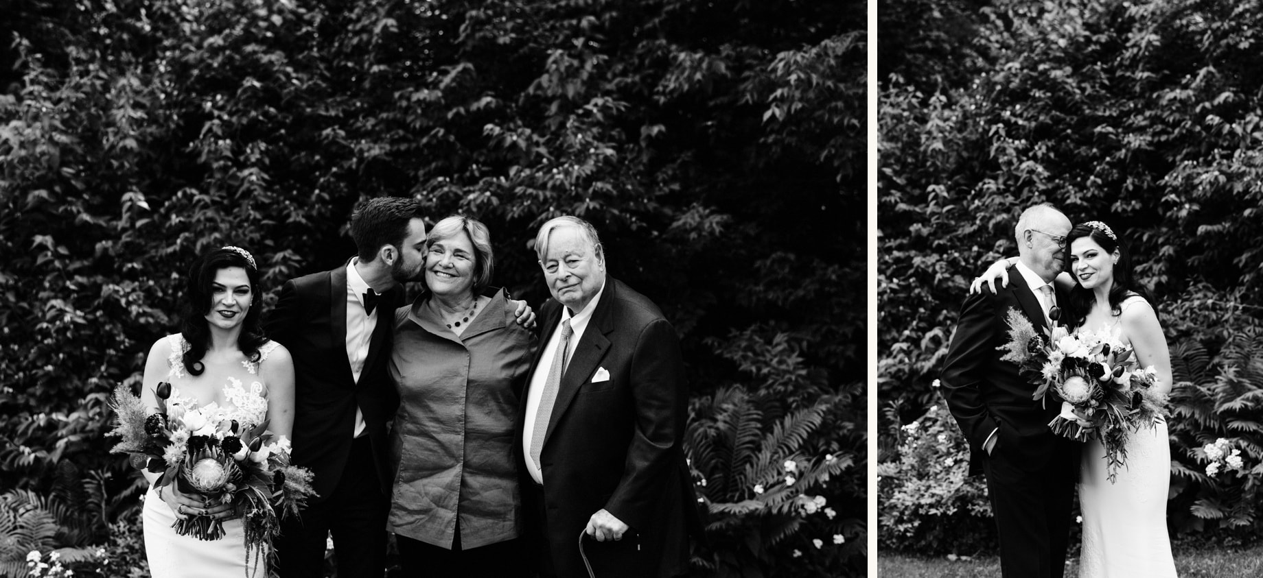 bride and groom posing with their parents