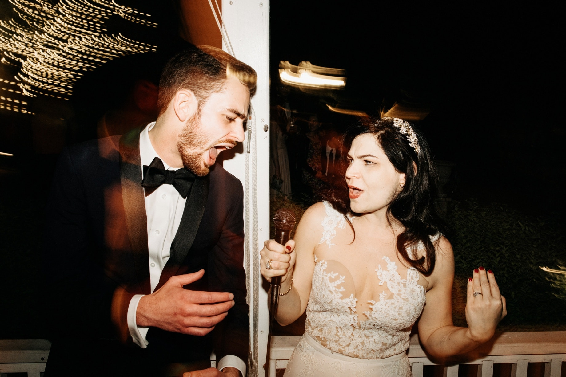 bride and groom during singalong