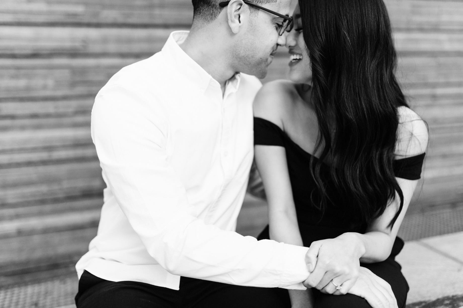 black and white portrait of a couple