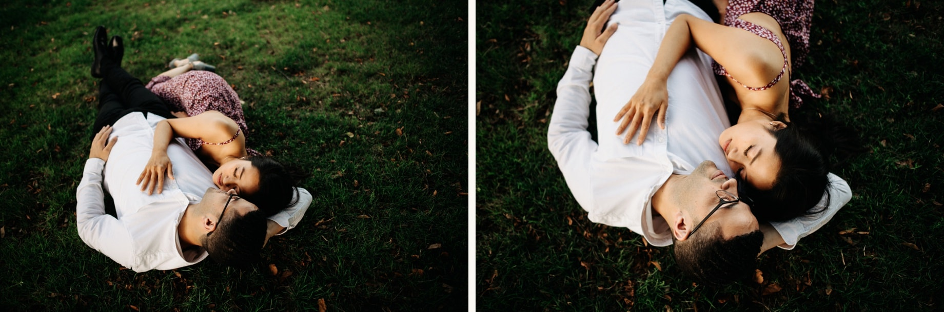 portriat of a couple laying in the grass