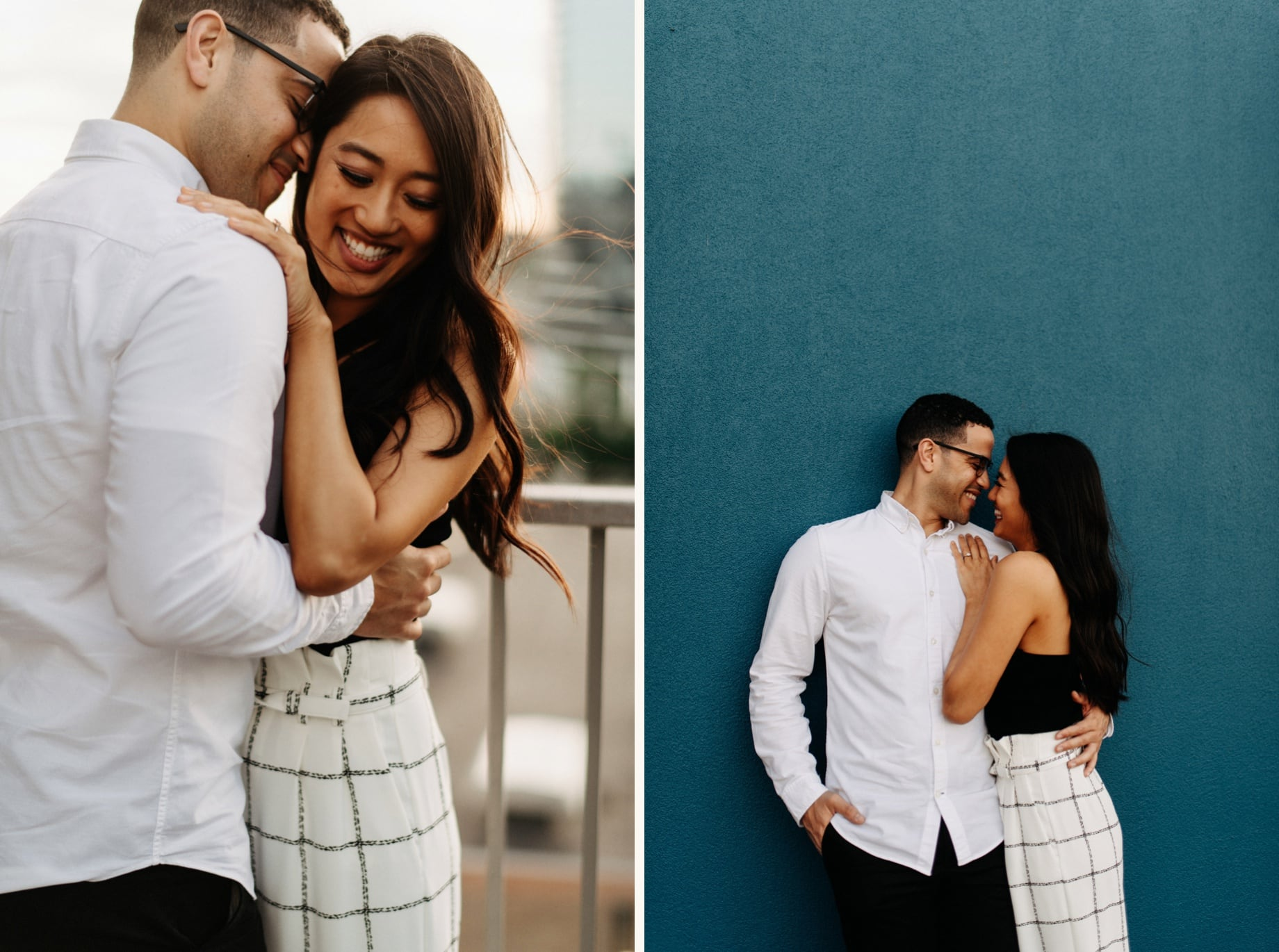 rooftop engagement portraits of a couple in grand rapids