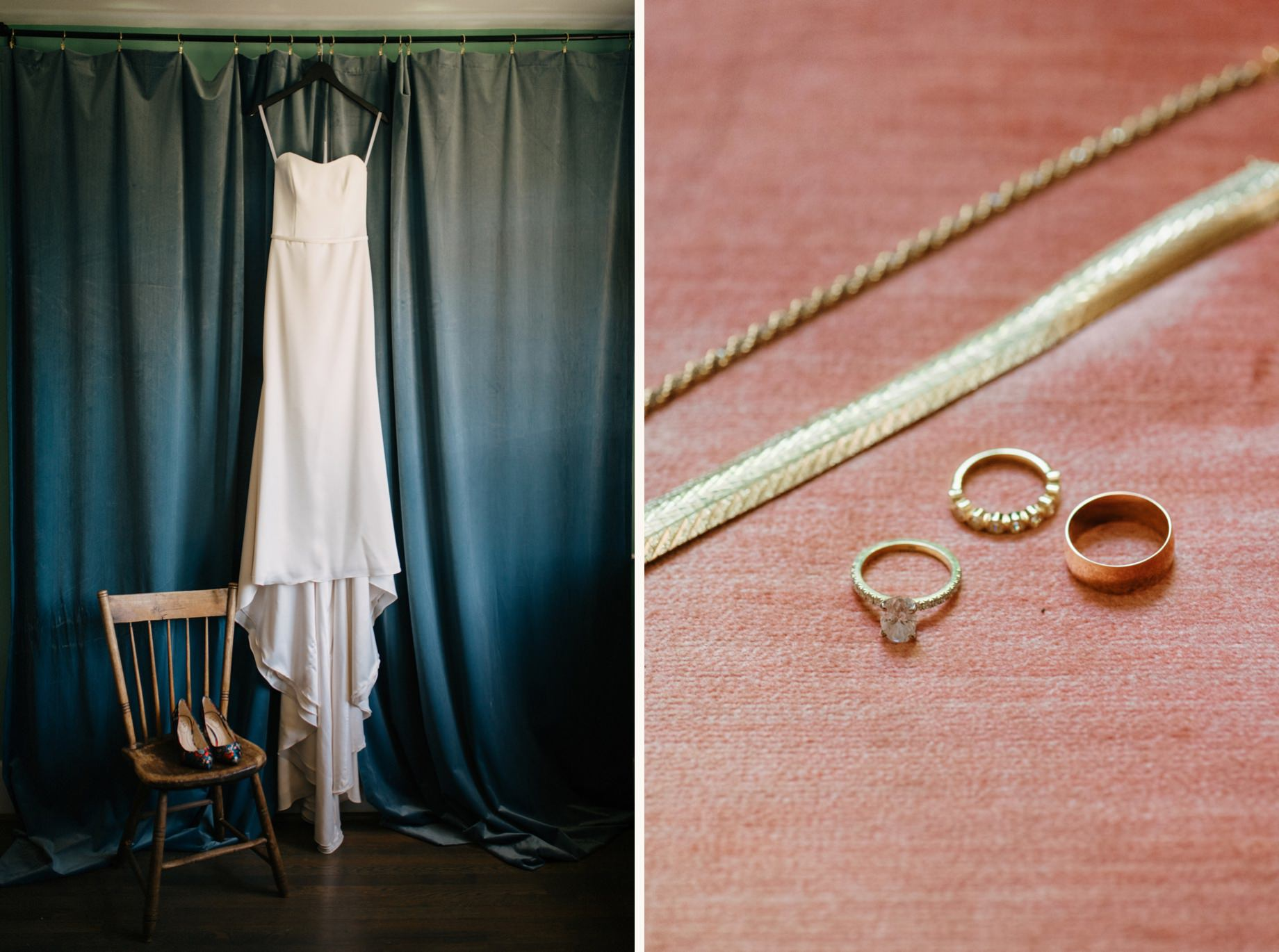 A detail shot of a wedding dress and rings by photojournalistic Detroit wedding photographer Heather Jowett