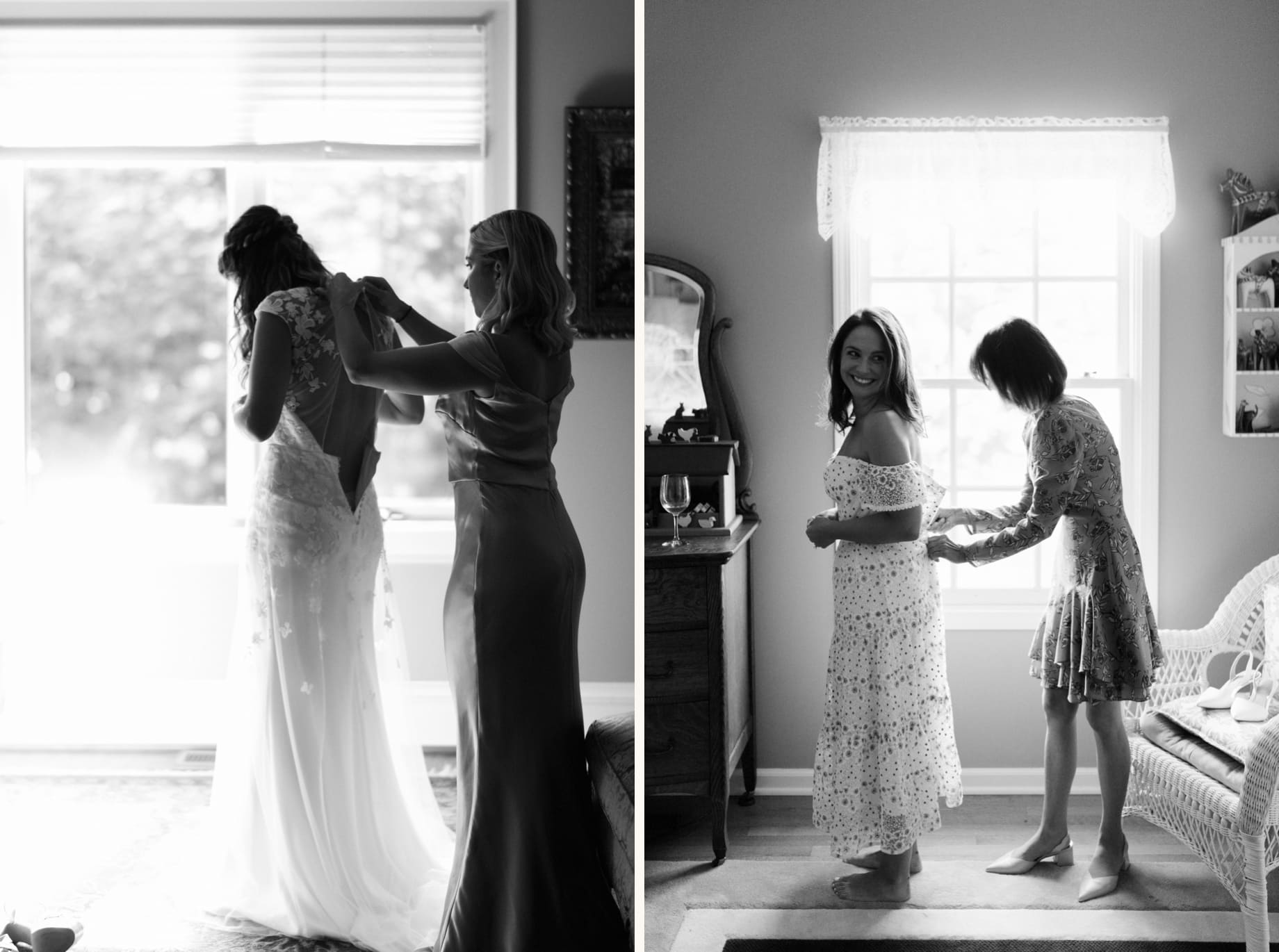 black and white photograph of bride getting into wedding dress by photojournalistic Detroit wedding photographer Heather Jowett
