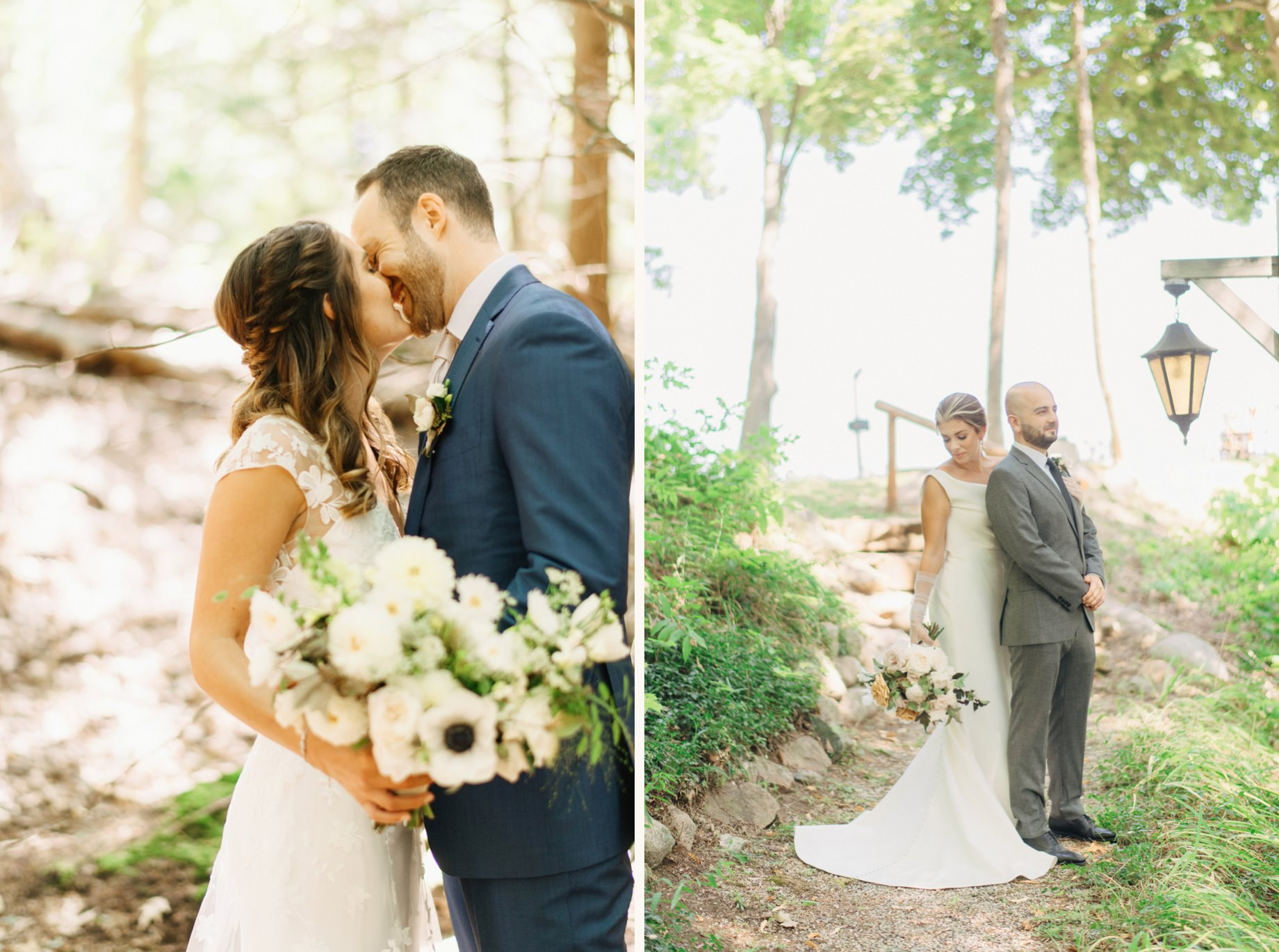 portraits of two couples in the woods by Michigan wedding photographer Heather Jowett
