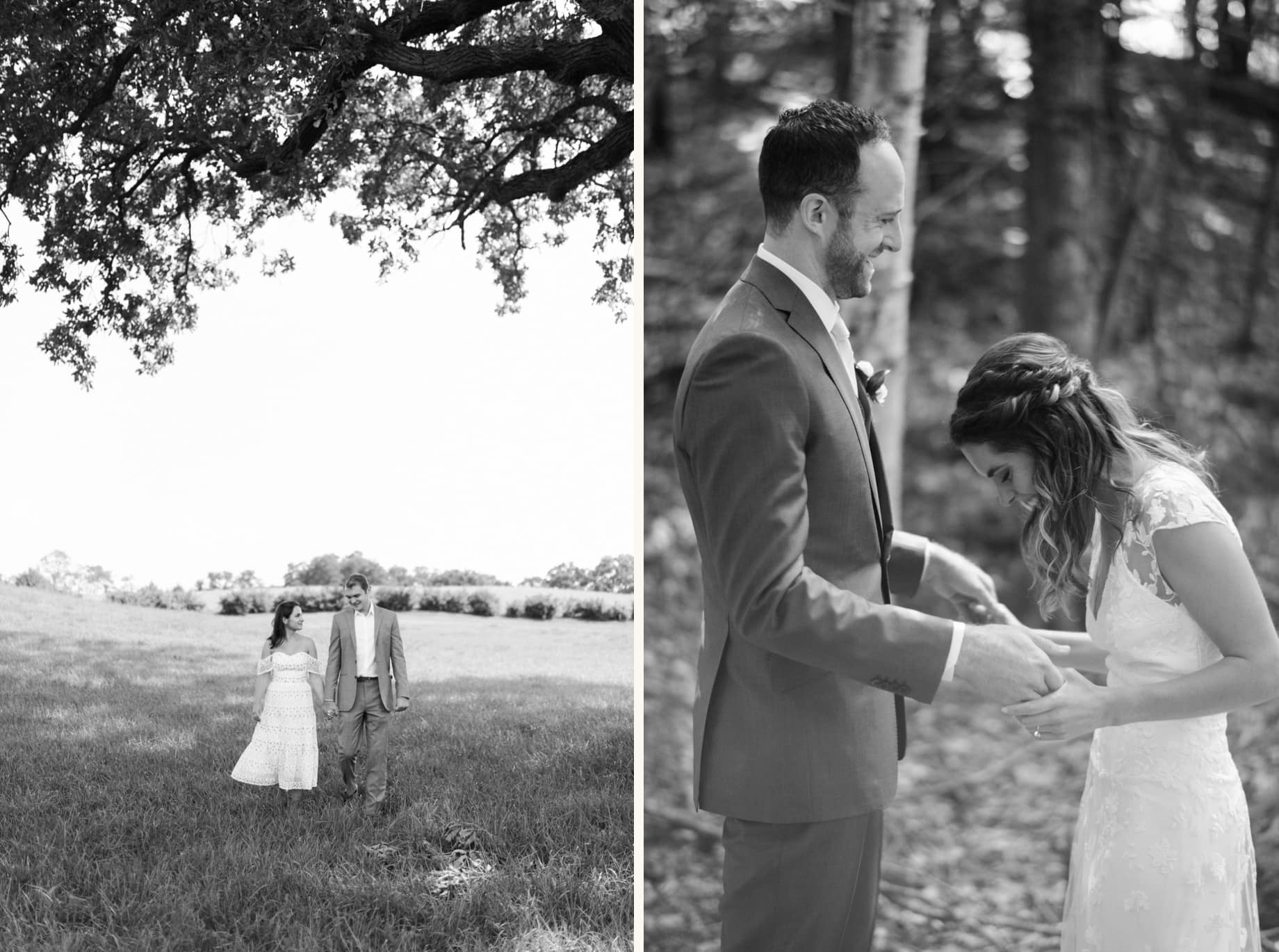 a couple walks in a field during their small intimate covid 19 wedding