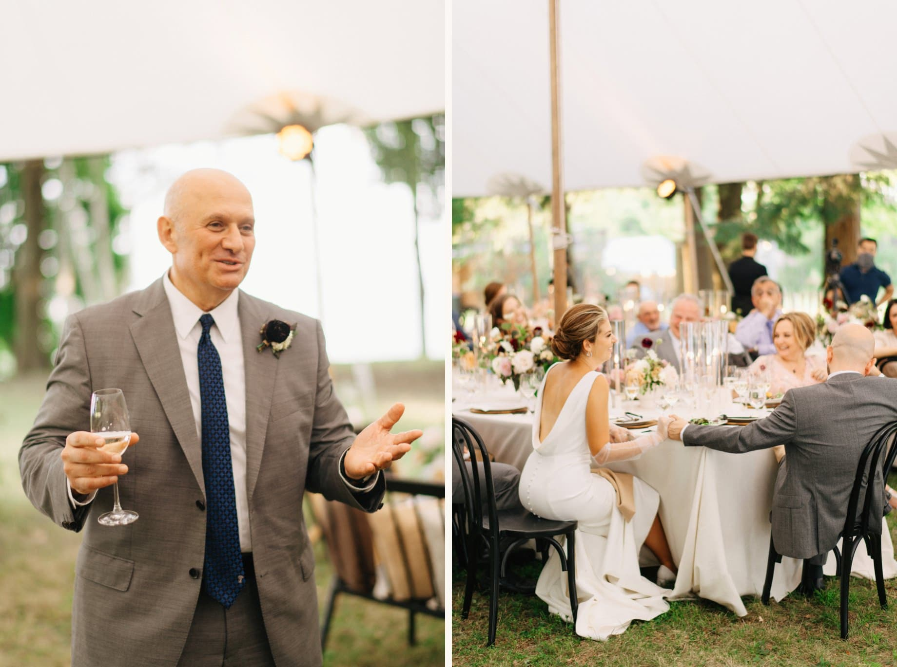 father toasts his daughter and new son in law by photojournalistic Detroit wedding photographer Heather Jowett