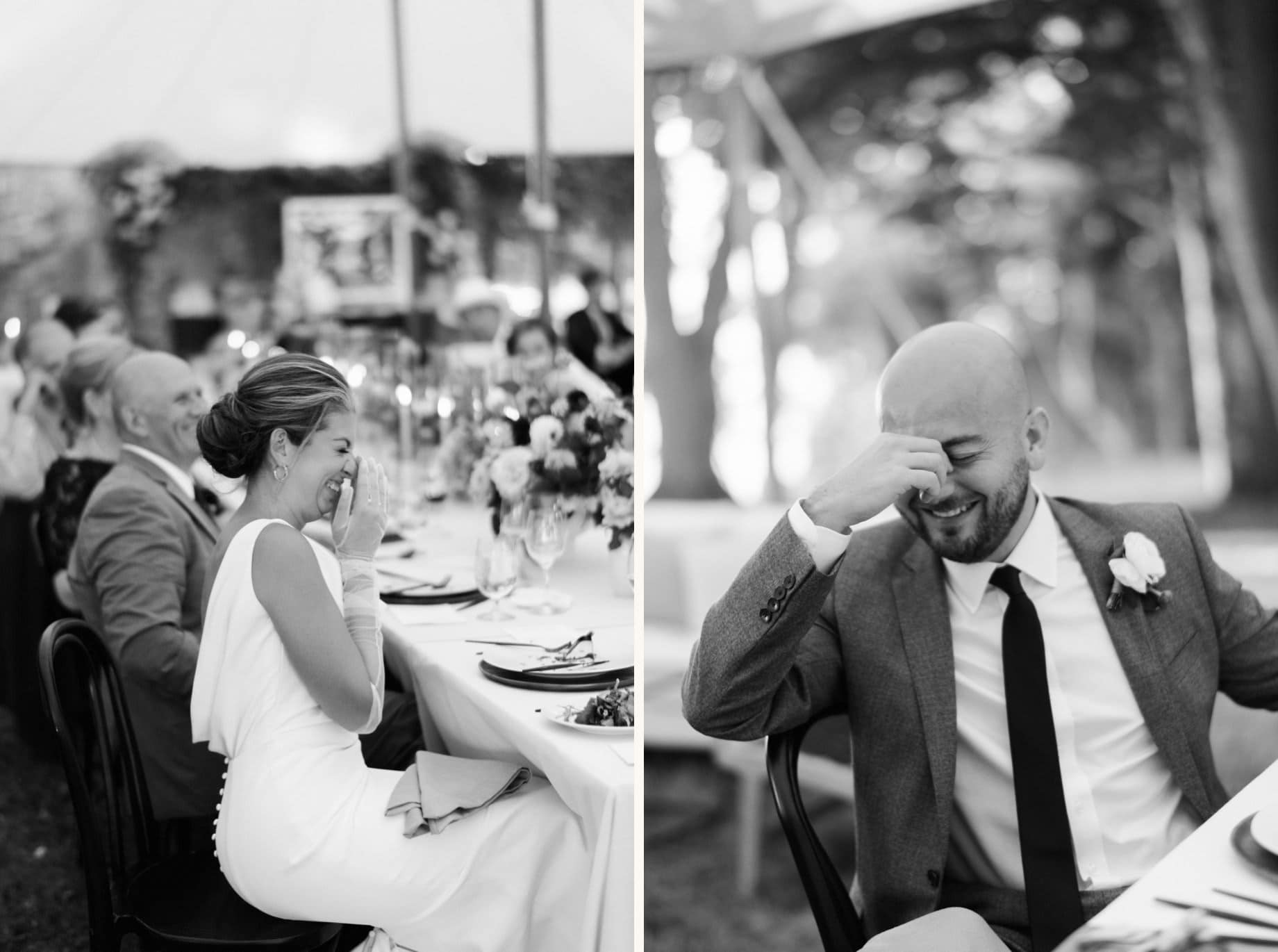 bride and groom laugh reacting to toasts