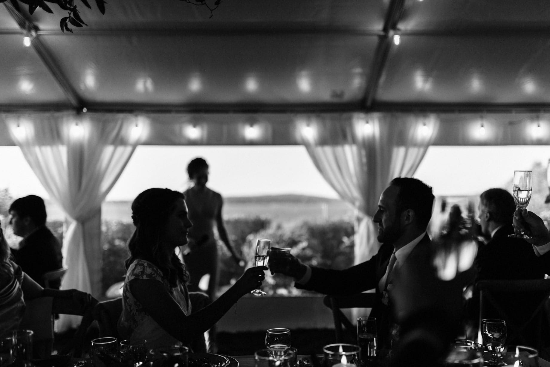 black and white photograph of a couple toasting on their wedding day