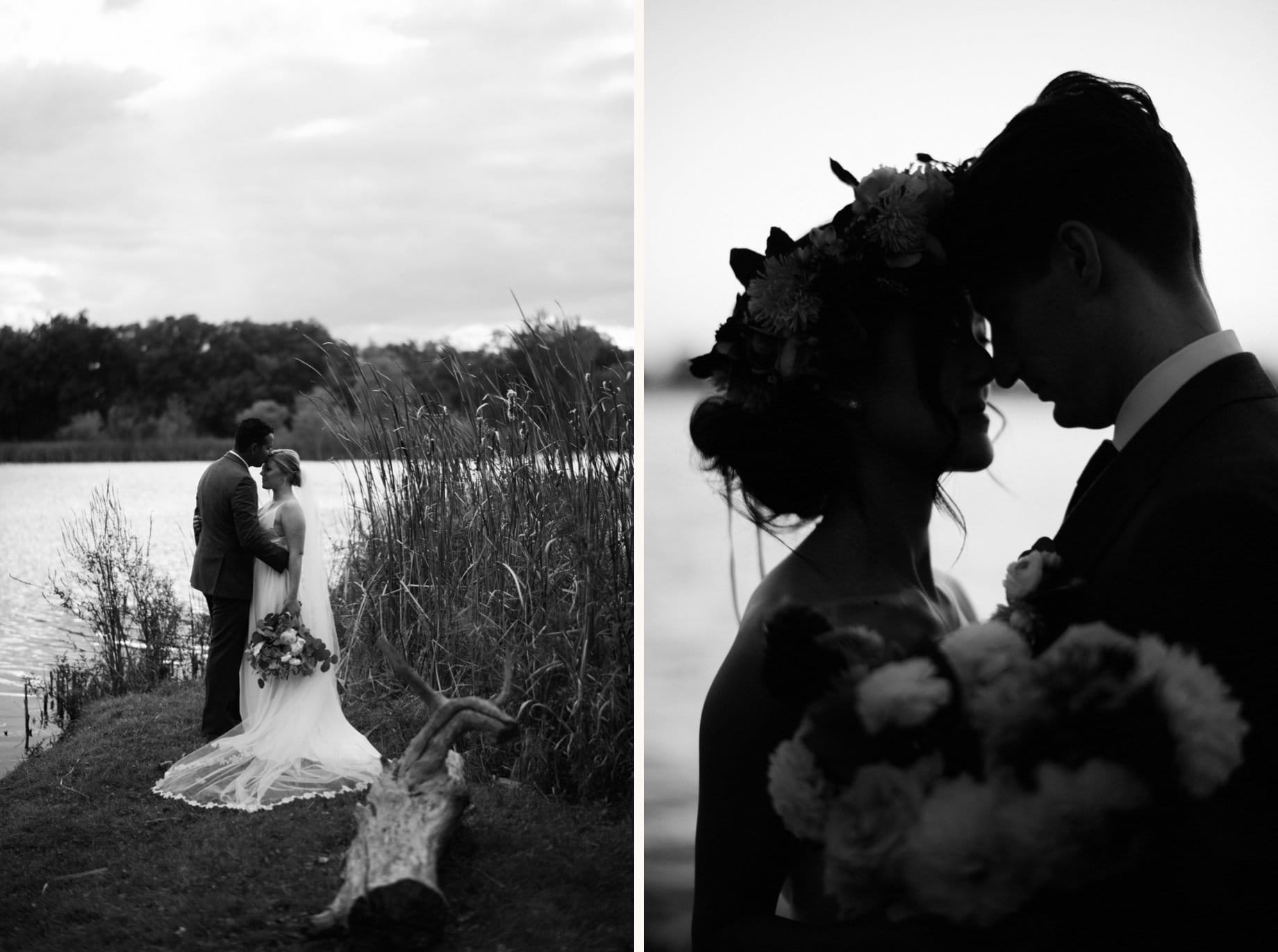 black and white portraits of couples on their wedding day