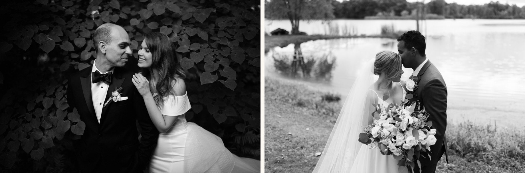 black and white portraits of bride and groom