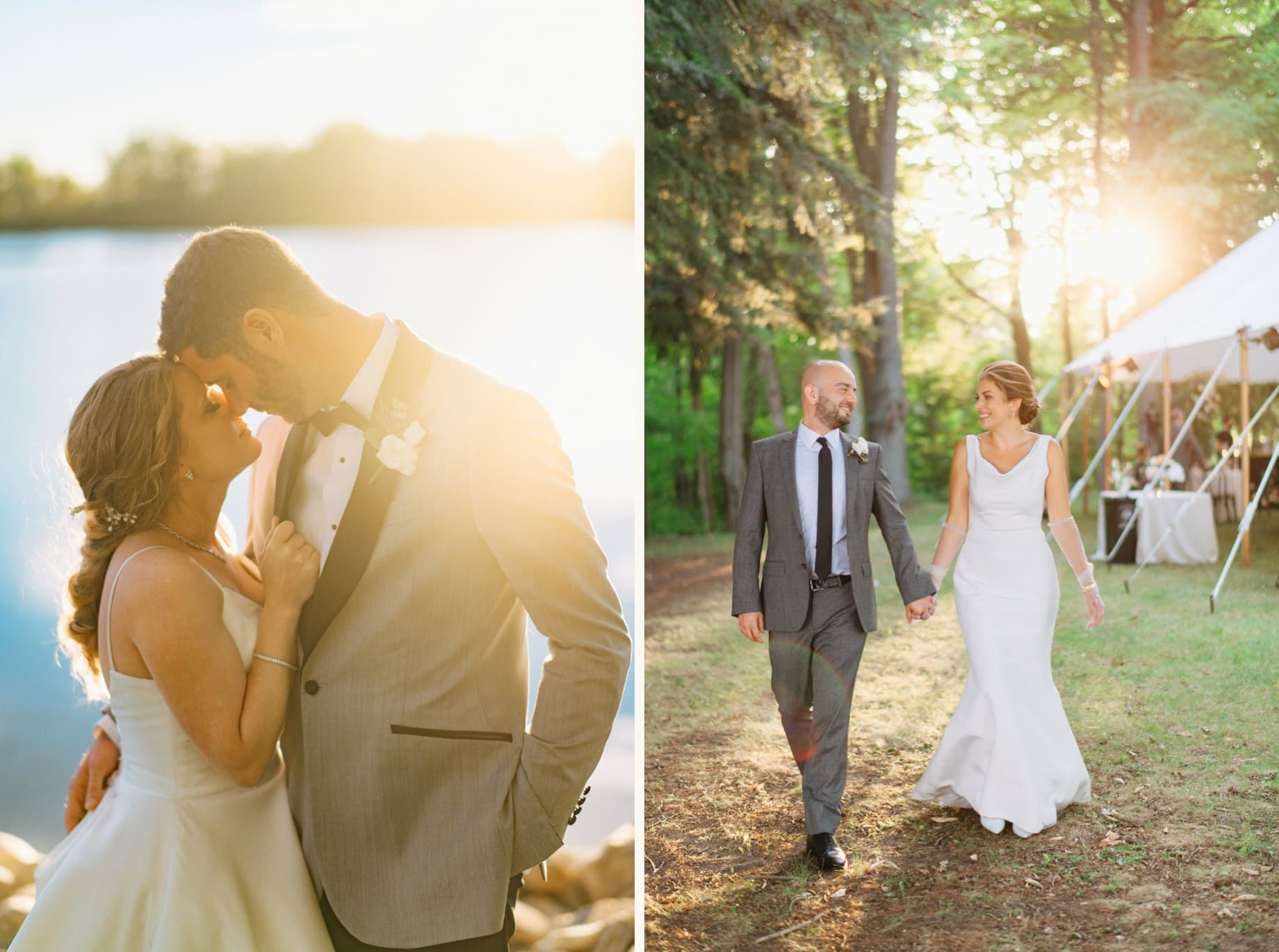 golden hour portraits of bride and groom on their wedding day