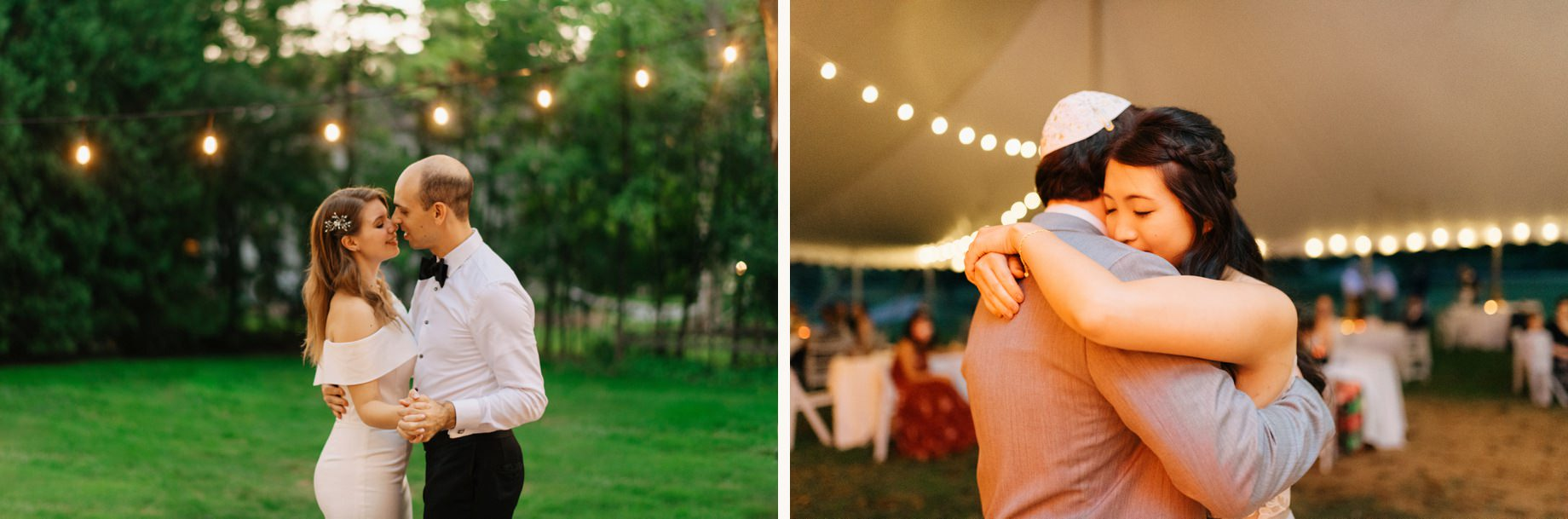 an intimate first dance during a backyard wedding in the covid era