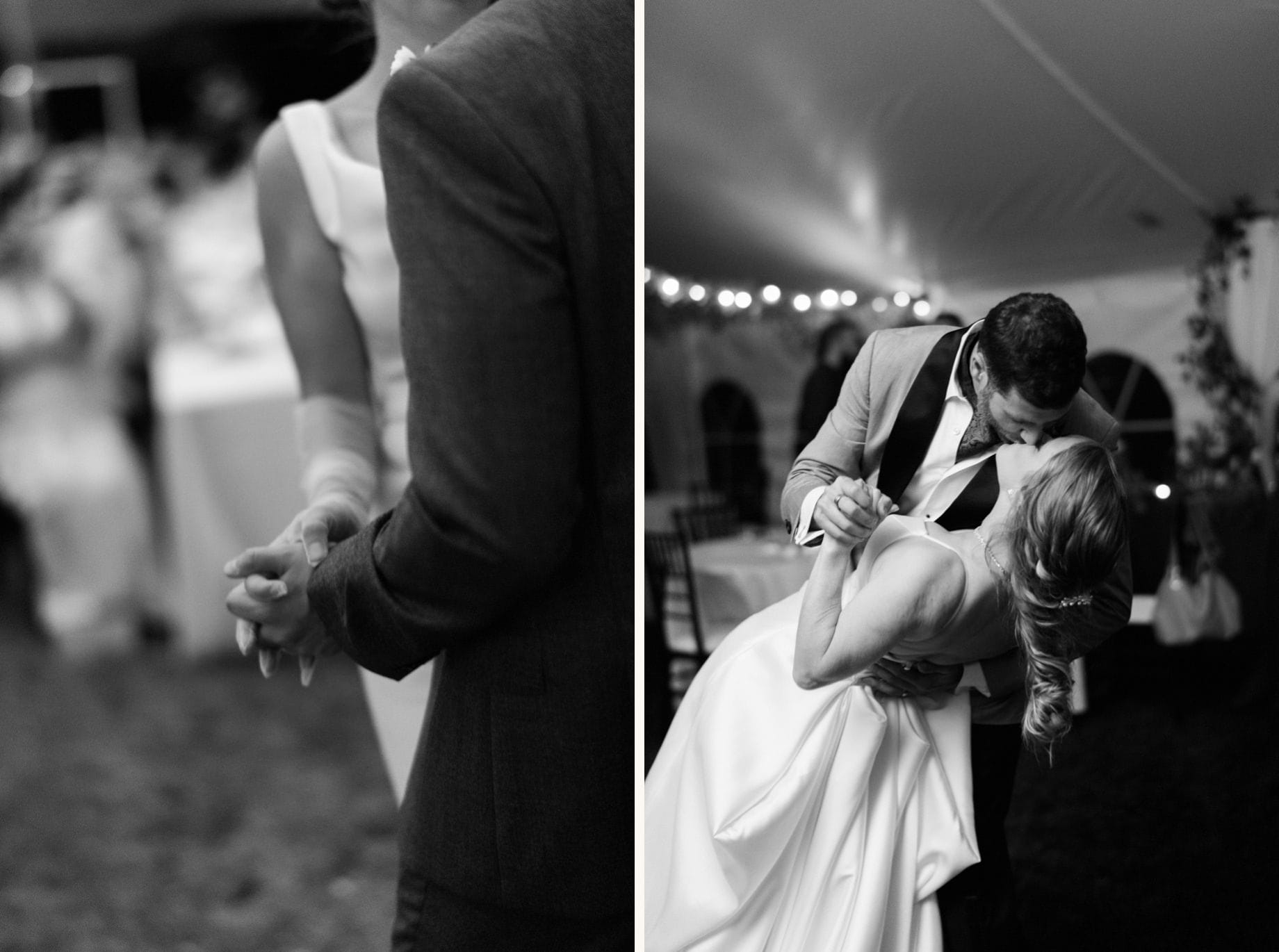 black and white photographs of couples dancing on their wedding day