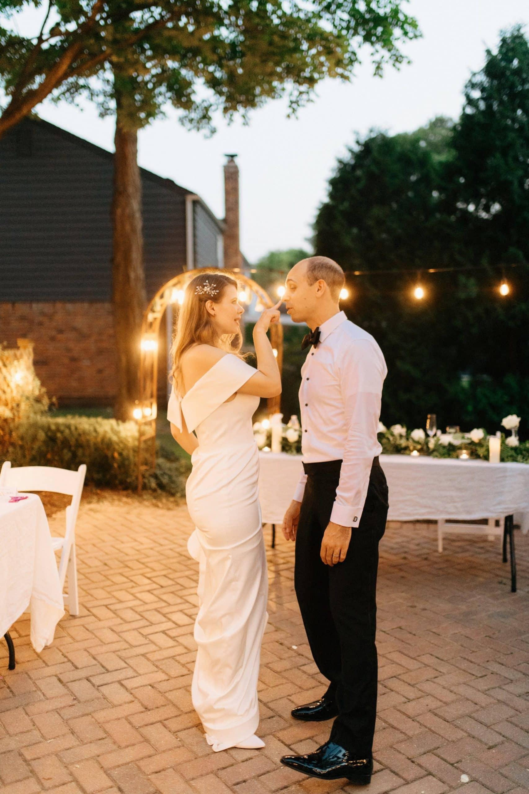 bride boops her grooms snoot